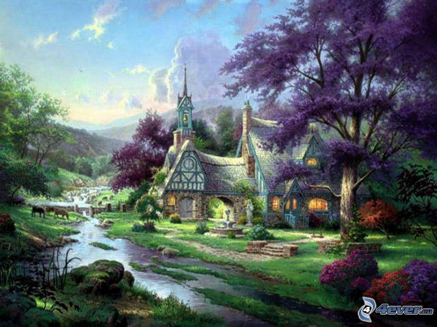 tecknat hus, landskap, Thomas Kinkade