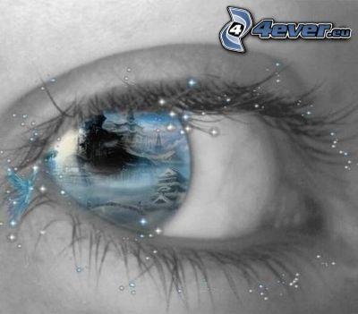 blå ögon, pärlor