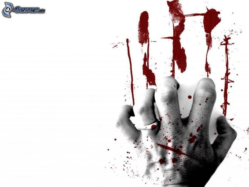 blodig hand, vägg, sår
