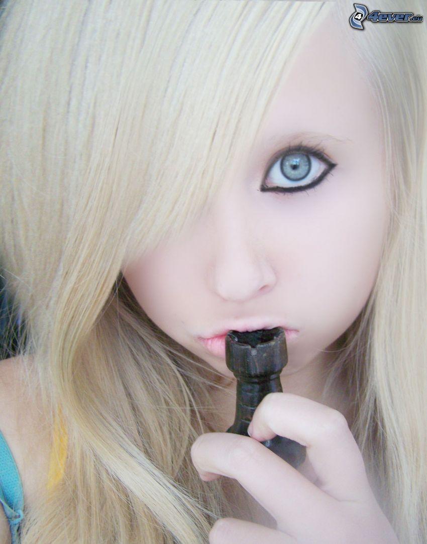 emo, blondin, öga, figur