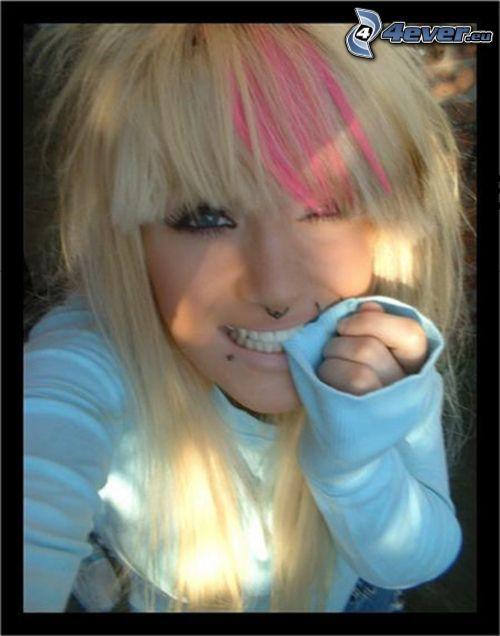 emo, piercing, tand, stråle