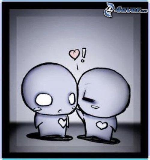 emo kärlek, tecknat par, figurer, hjärta, kärlek, kyss