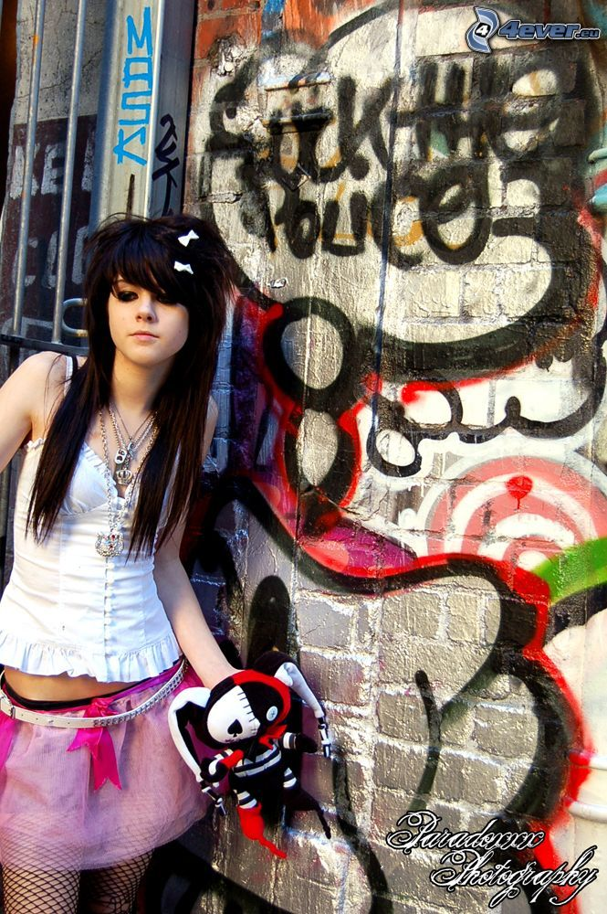 emo tjej, graffiti