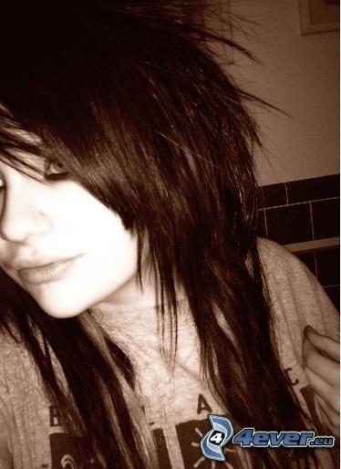 emo tjej, svart hår