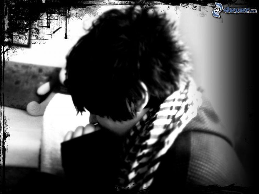 halsduk, arabslöja, emo boy
