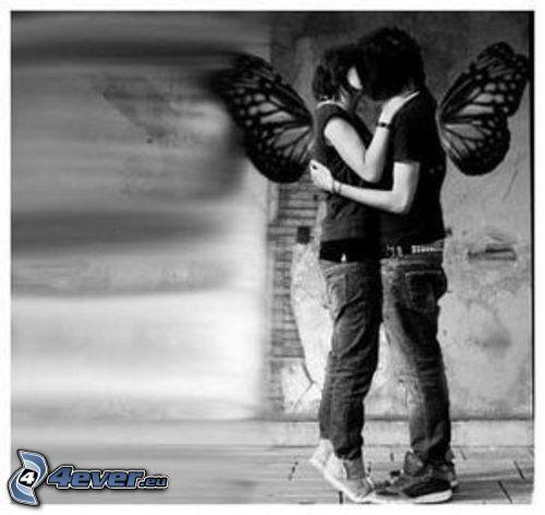kärlek, emo, vinge, par, kyss, kram
