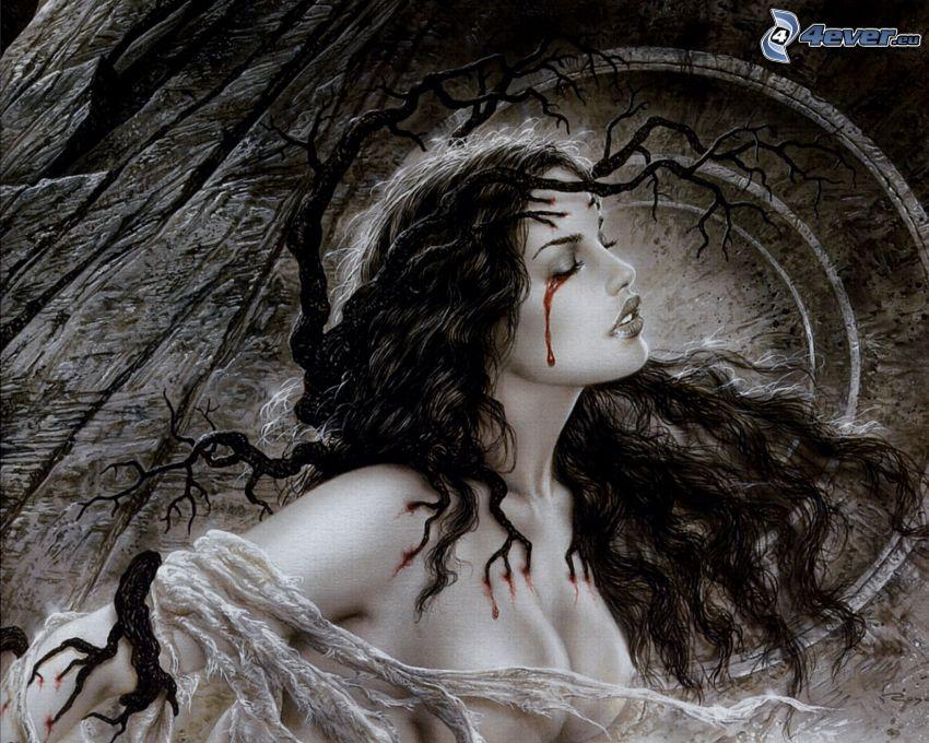 kvinnogråt, blodiga ögon, Luis Royo