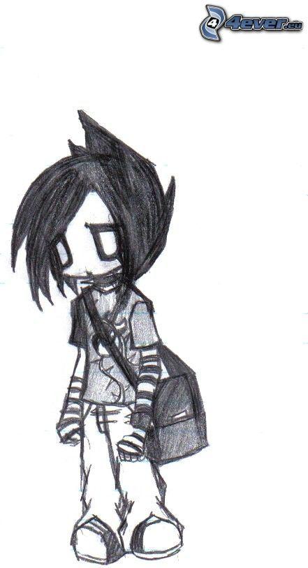 pojke, sorg, teckning