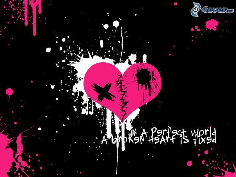 trasigt hjärta, emohjärta, fläck, färg, graffiti
