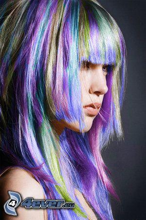 färggrannt hår, tjej