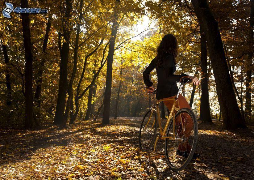 flicka på cykel, kvinna i park, gula träd, torra löv