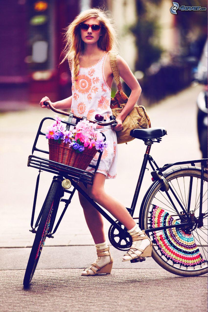 flicka på cykel, stil