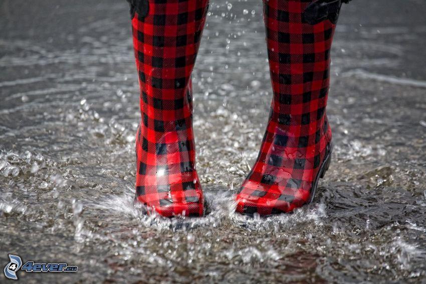gummistövlar, regn, vatten, plask