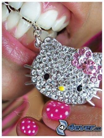 Hello Kitty, hängsmycke, läppar, nagel, vita tänder
