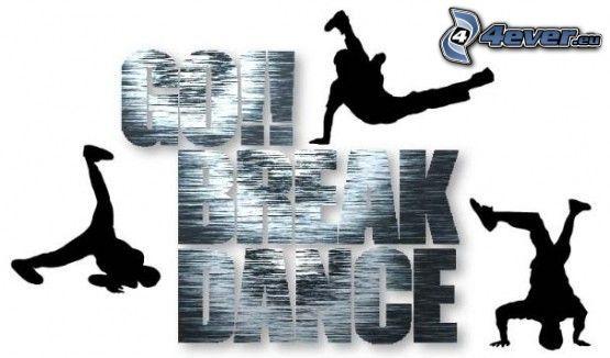 breakdance, dans, dansare, silhuett