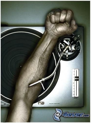 DJ, LP-skiva, hand, grammofon