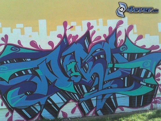 graffiti, sprej, byggnad