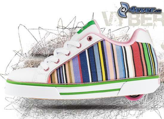 Heelys, färgglada gymnastikskor, hjul
