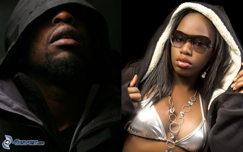 rappare, mörkhyad man, mörkhyad kvinna