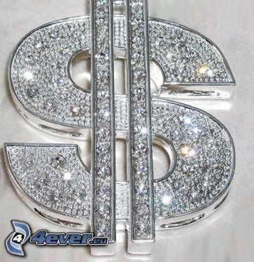 smycke, dollar, hip hop, diamant, glans