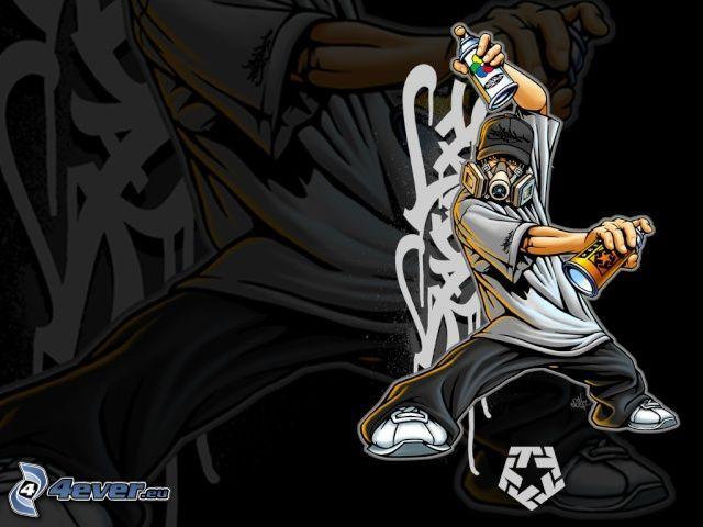 sprej, graffiti, hiphoppare