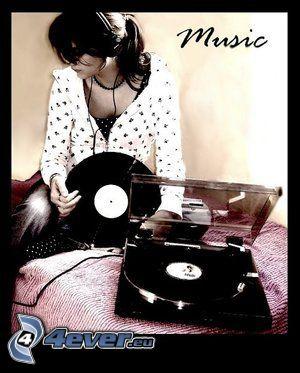 tjej med hörlurar, grammofon, LP-skiva, musik