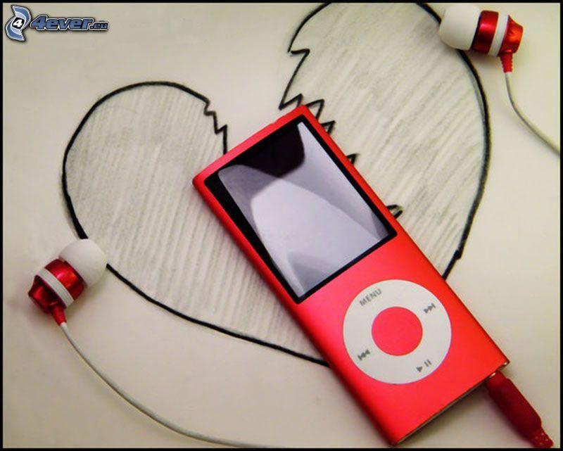 iPod, trasigt hjärta, hörlurar
