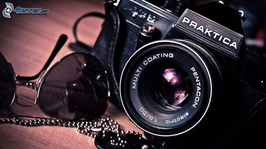 kamera, solglasögon