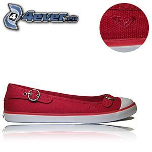 ballerinaskor, sko, röd