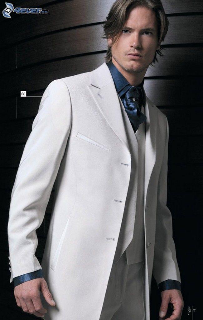 brudgum, vit kostym