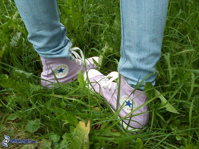 Converse, gräs, ben