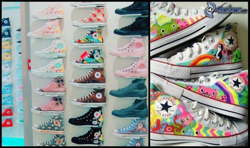 Converse All Star, butik, färgranna gymnastikskor