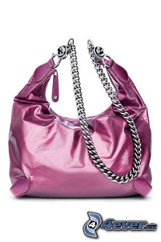 handväska, kedja, rosa