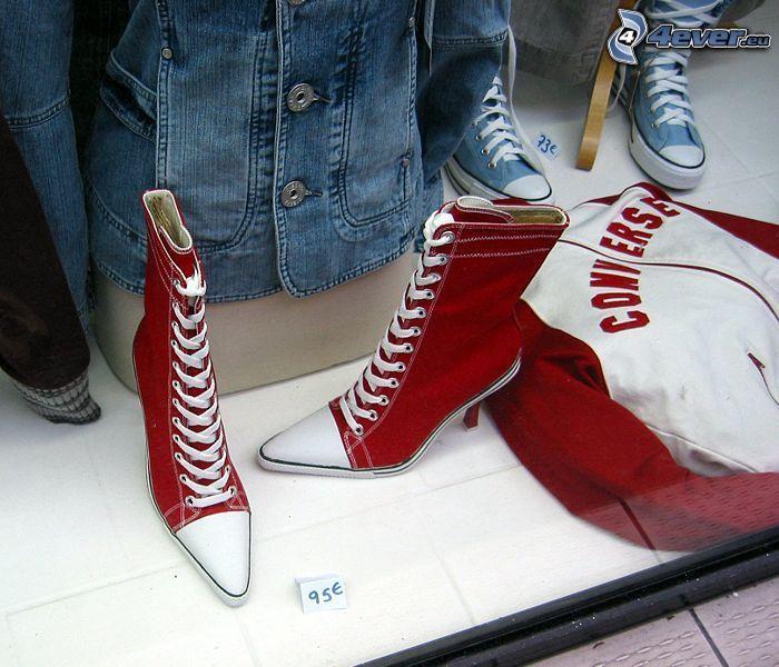röda gymnastikskor, stövlar, skor, sko, klack, hoodootröja, Converse