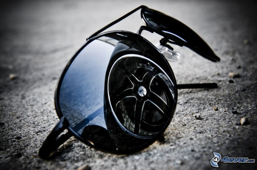 solglasögon, spegling, hjul