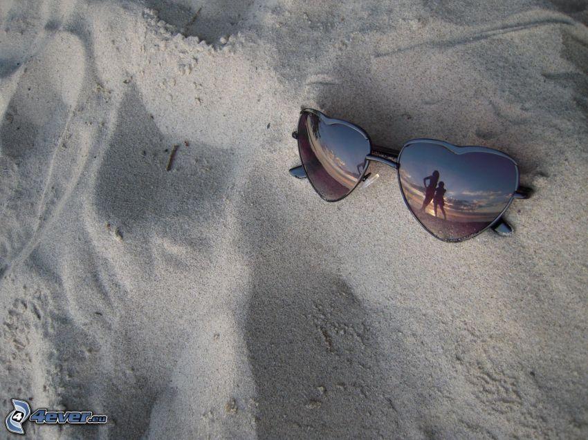 solglasögon, spegling, sand