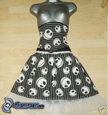 svart klänning, emo, dödskalle
