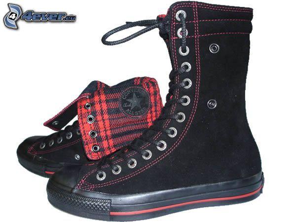 svarta sneakers, skor, sko, Converseskor