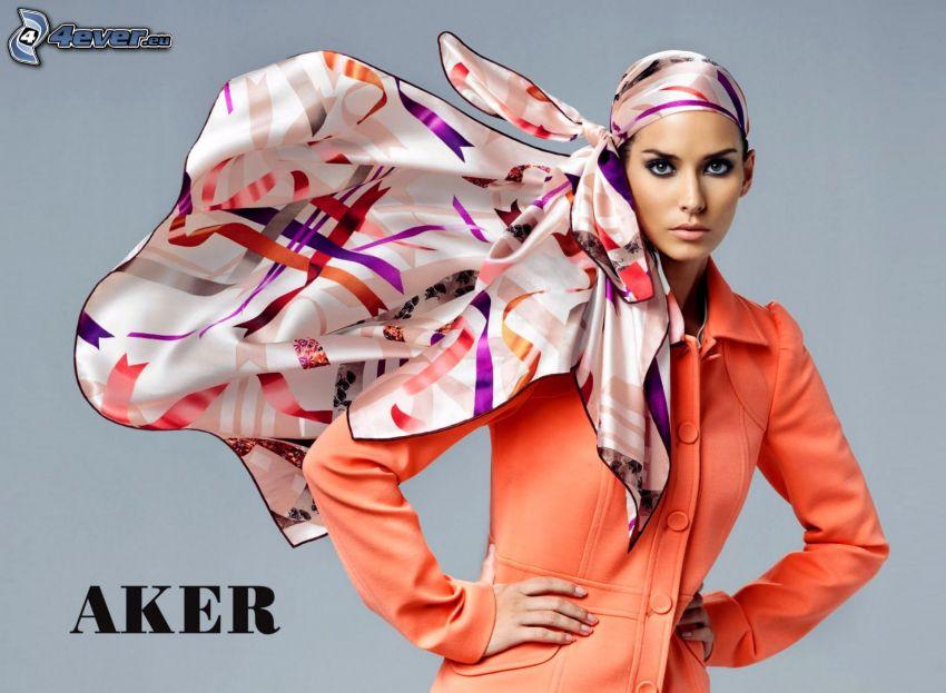 kvinna, halsduk