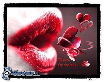 läppar, hjärtan, kyss