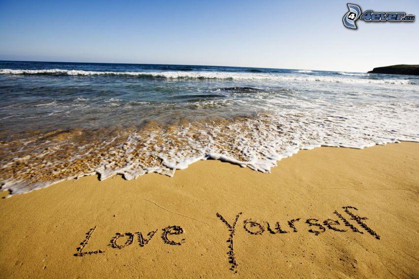 love yourself, strand, hav
