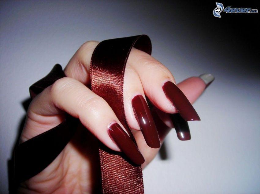 målade naglar, hand, band