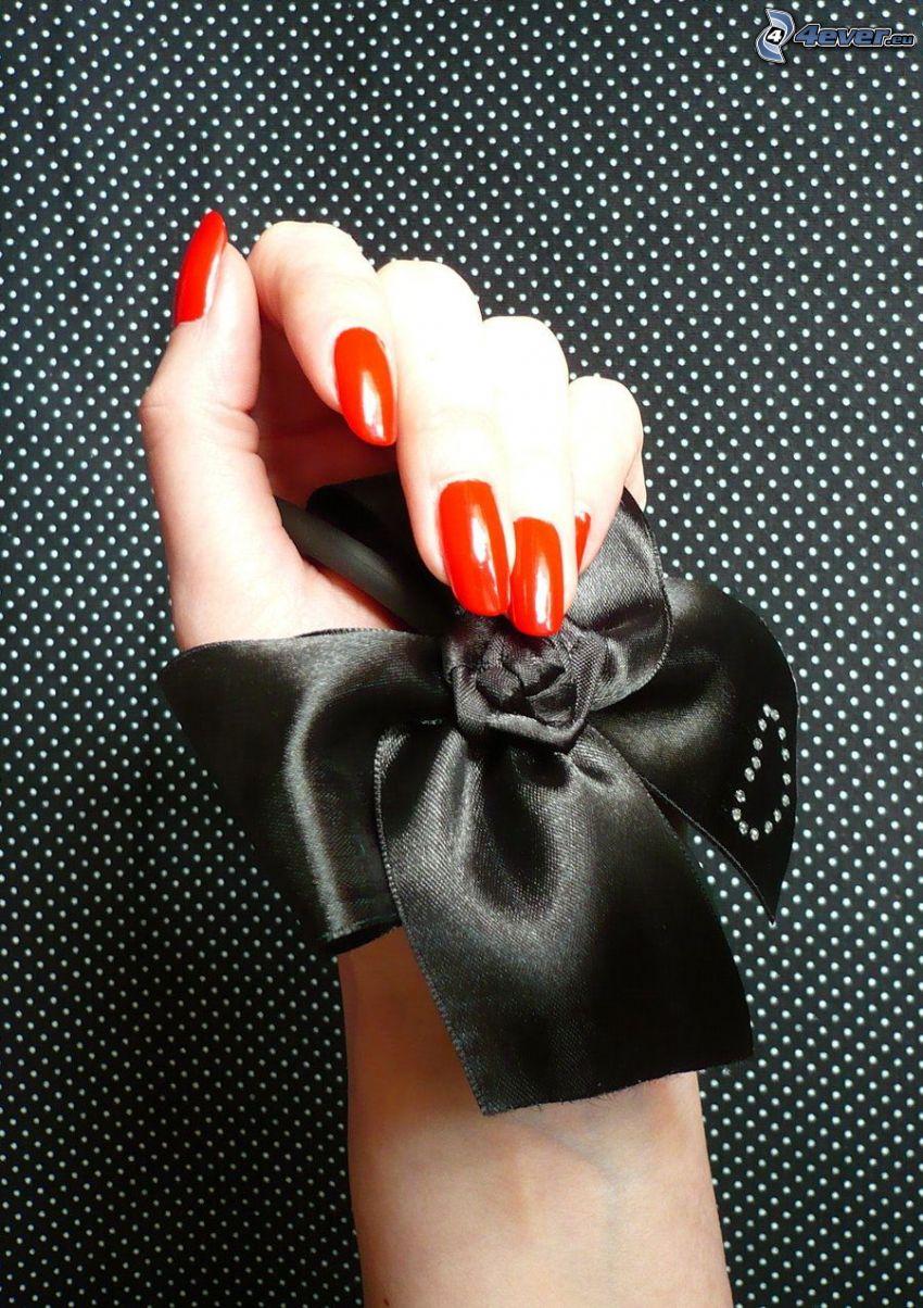 målade naglar, hand, rosett