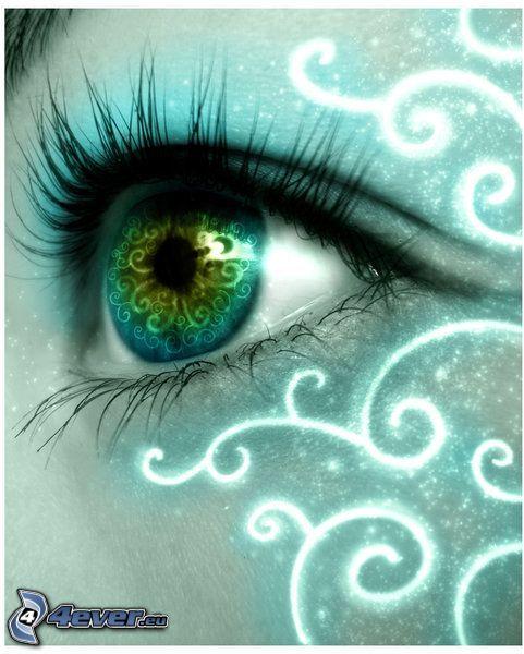 öga, blå, grön