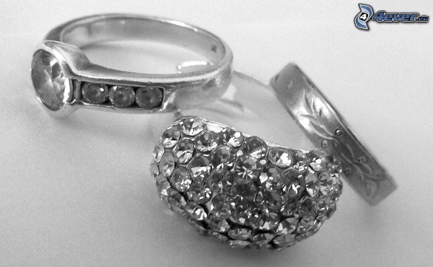 ringar, diamanter