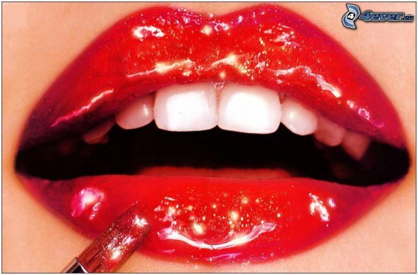 röda läppar, tänder, läppstift