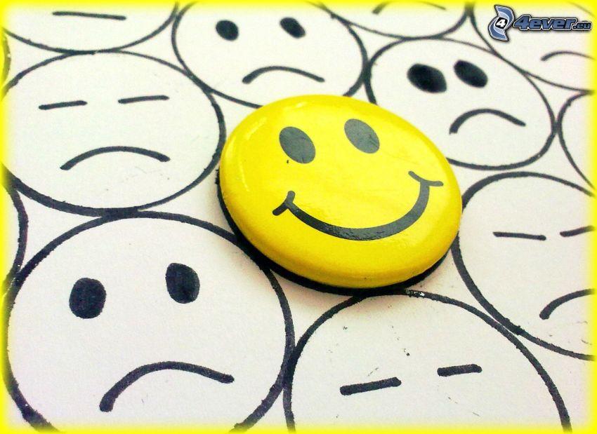 smiley, leende, sorg
