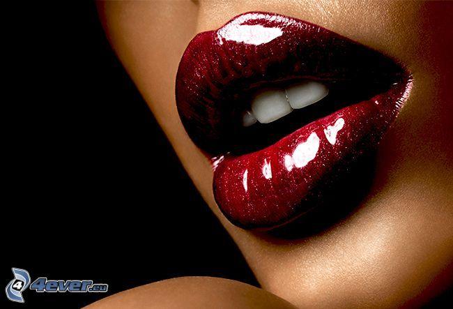 sminkade läppar, mun, glans, röd, tänder