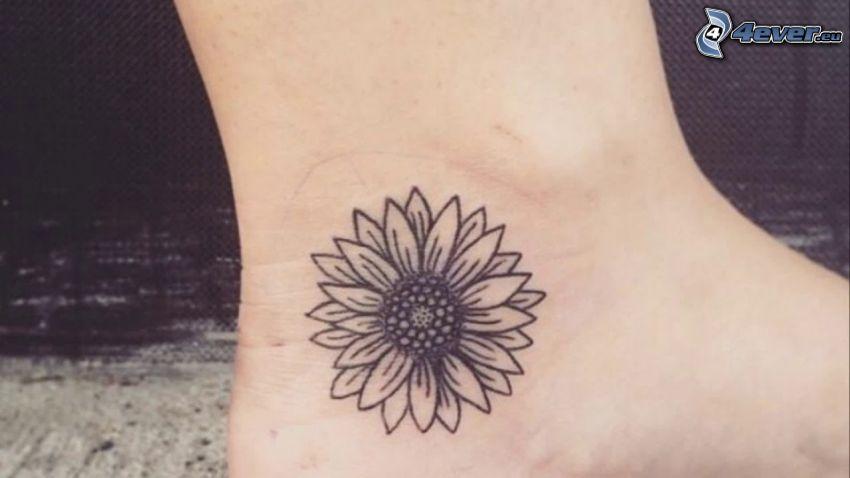 tatuering, blomma, fot