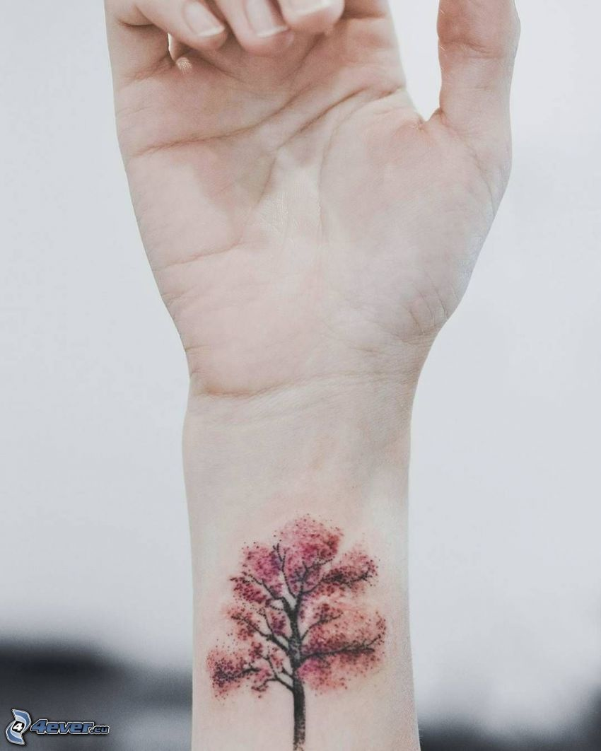 tatuering, träd, handled